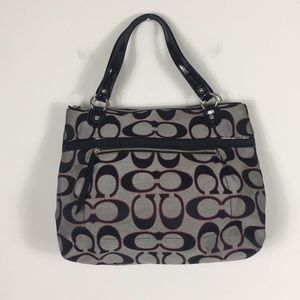 Coach Grey and Black Monogram Shoulder Purse